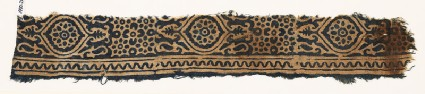 Textile fragment with medallions, and rosettes set into linked starsfront