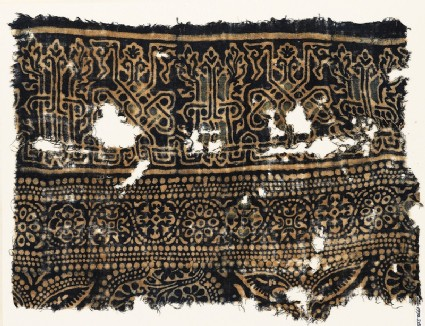 Textile fragment with interlace based on naskhi script, rosettes, and floral patternfront