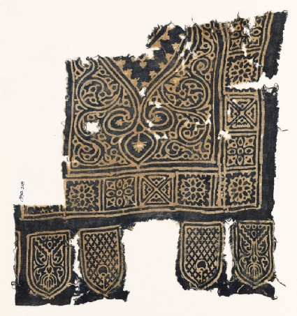 Textile fragment with medallion, squares with quatrefoils and rosettes, and tabsfront
