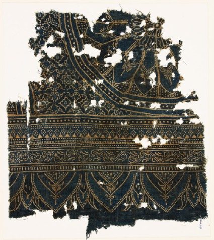 Textile fragment with large rosette, diamond-shapes, leaves, and archesfront