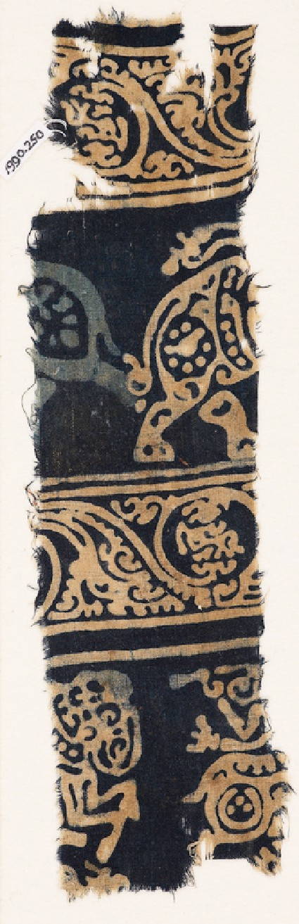 Textile fragment with elephants and horsesfront