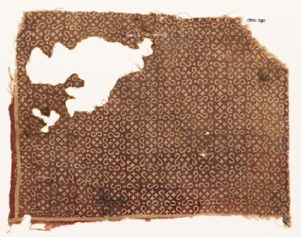 Textile fragment with S-shapes and small squaresfront