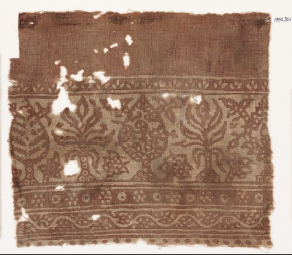 Textile fragment with stylized treesfront