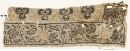 Textile fragment with carnations, rosettes, and tulipsfront