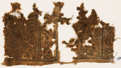 Textile fragment with palm tree, floral design, and part of a pavilionfront
