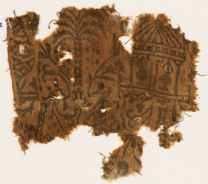 Textile fragment with palm tree, floral patterns, and a pavilionfront