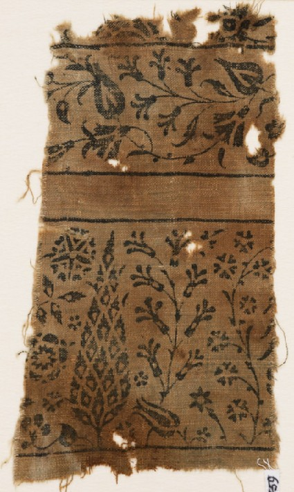 Textile fragment with stylized tree, flowering plants, vine, and flower-headsfront