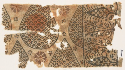 Textile fragment with tear-drops filled with scales, and stylized trees and flowersfront