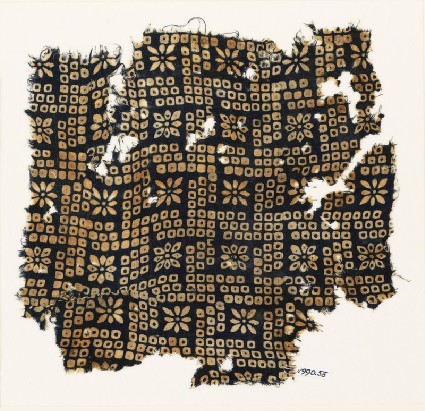 Textile fragment with bandhani, or tie-dye, imitation and rosettesfront