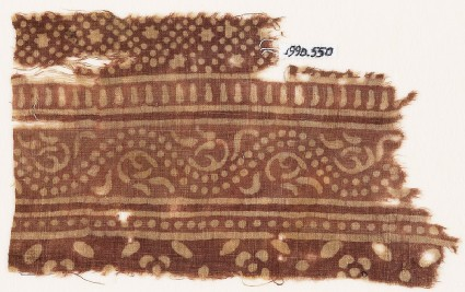 Textile fragment with bands of dotted vine, small stars and dots, and flowersfront