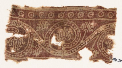 Textile fragment with lotus scrollfront
