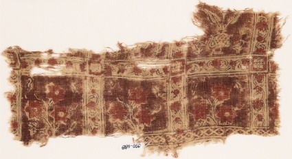 Textile fragment with squares, vines, and flowersfront