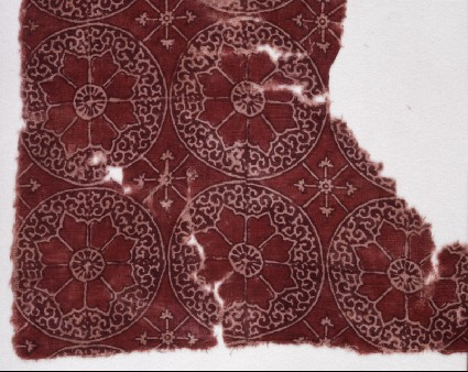 Textile fragment with circles, rosettes, and tendrilsfront
