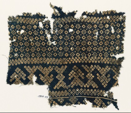 Textile fragment with rosettes, lobed squares, and bandhani, or tie-dye, imitationfront