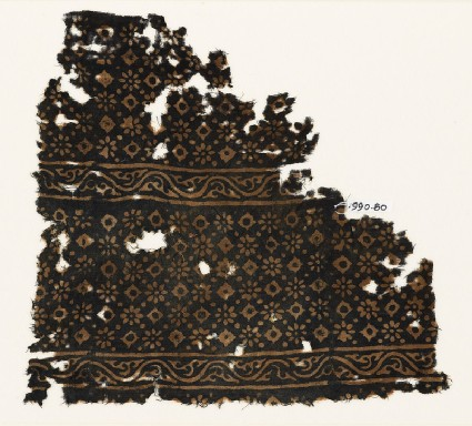 Textile fragment with rosettes, lobed squares, and dotsfront