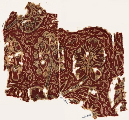 Textile fragment with flowering treeswith EA1990.823.b