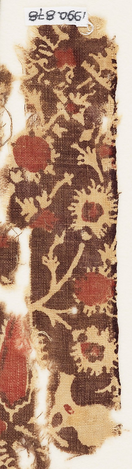 Textile fragment with elaborate treesfront
