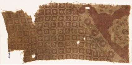 Textile fragment with linked squares and ornate flower-headsfront