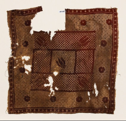 Textile fragment with flowers and cross-hatchingfront