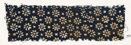 Textile fragment with rosettes and small squaresfront