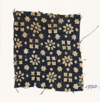 Textile fragment with rosettes, stars, and squaresfront