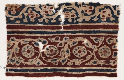 Textile fragment with vines and flowersfront