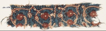 Textile fragment with tendrils and flower-headsfront
