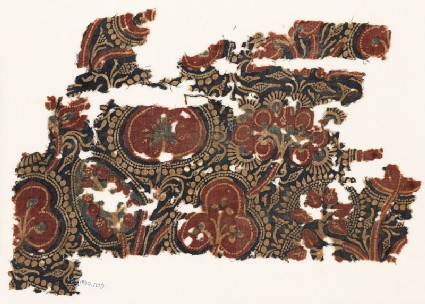 Textile fragment with stylized trees and bunches of fruitfront