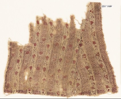 Textile fragment with bands of vines, flowers, chevrons, and ovalsfront