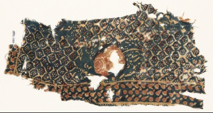Textile fragment with rose and grid of medallions and rosettesfront