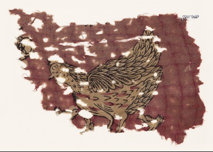 Textile fragment with hen and chicksfront