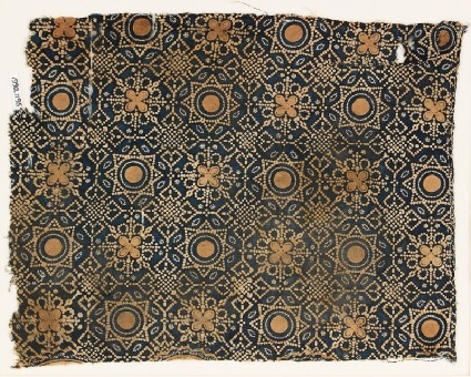 Textile fragment with dotted octagons, stars, and quatrefoilsfront