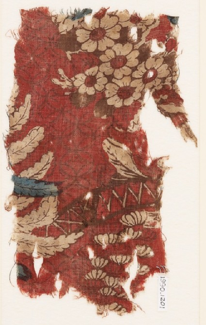 Textile fragment with chinoiserie bridge, branches, and flowersfront