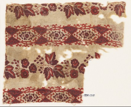 Textile fragment with linked ovals, leaves, and berriesfront