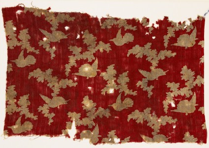 Textile fragment with birds and cloudsfront