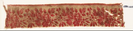 Textile fragment with naturalistic linked flowersfront
