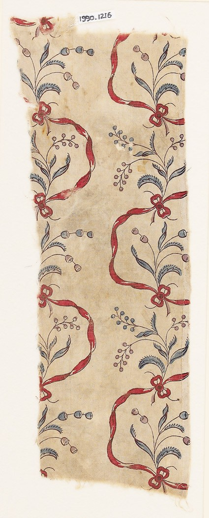 Textile fragment with flowers and ribbonsfront