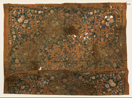 Textile fragment with garlands of flowersfront