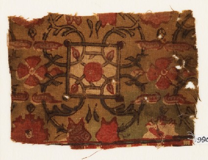 Textile fragment with flowers, squares, and interlacefront