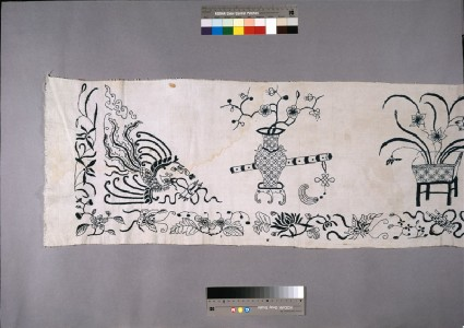 Valance with vases of flowers, phoenix, and dragondetail