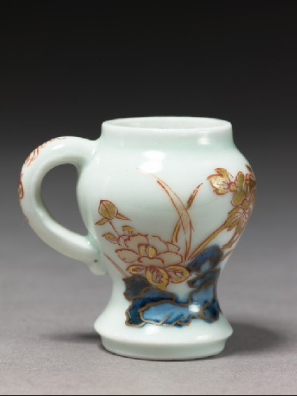 Miniature mustard pot with camellias and peoniesside