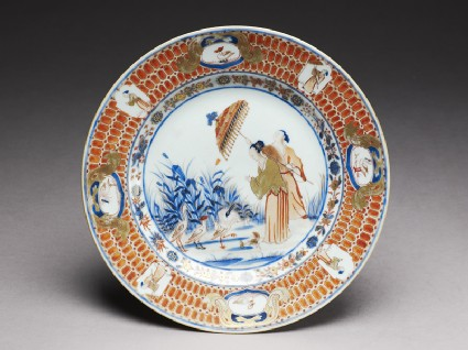 Plate with 'Parasol Lady' designtop