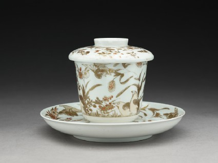 Lidded cup and saucer with quails, chrysanthemums, and milletsoblique