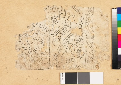 Fragmentary drawing for a tile or textile with floral border of undulating leaf-shapesfront