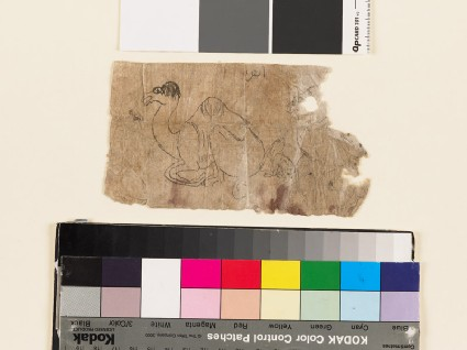 Fragmentary drawing of crouching camel and seated harefront