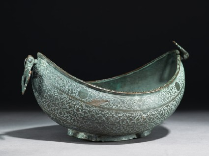 Kashkul, or begging bowl, in the form of a boatoblique
