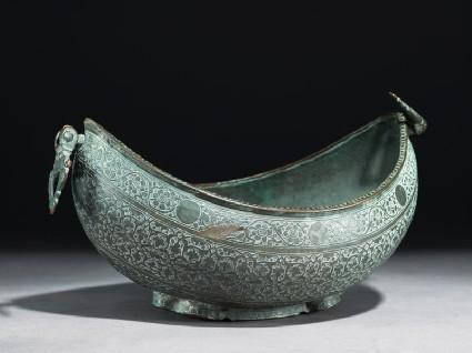 Kashkul, or begging bowl, in the form of a boatoblique
