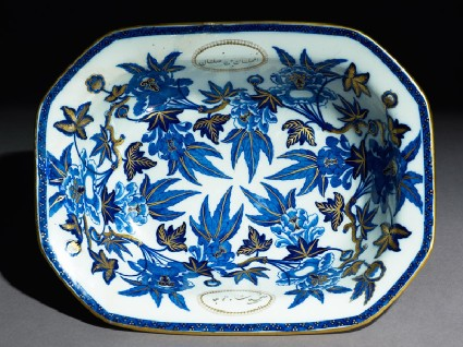 Octagonal dish with leaves and cartouches containing inscriptiontop
