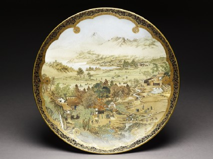 Kyo-Satsuma dish with landscape using westernized perspectivetop