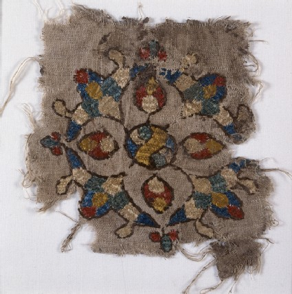 Textile fragment with cruciform palmettefront